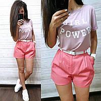 Женский костюм шорты коттон с футболкой из вискозы, фото 1