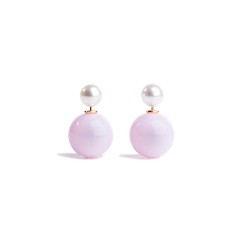 Серьги шары Dior двойные, нежно-сиреневый глянцевый, белый перламутровый