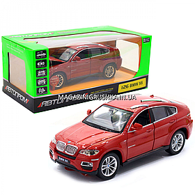 Машинка игровая автопром «BMW X6» джип, металл, 18 см, красный, свет, звук, двери открываются (68250A)