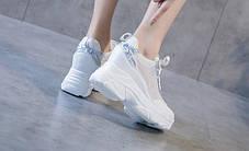 Стильные белые кроссовки на высокой подошве с голографическими вставками, 36 - 40, фото 3