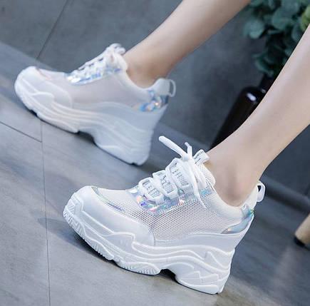 Стильные белые кроссовки на высокой подошве с голографическими вставками, 36 - 40, фото 2