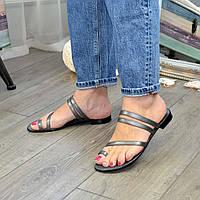 Шлепанцы/вьетнамки женские кожаные на низком ходу, цвет платина. 39 размер