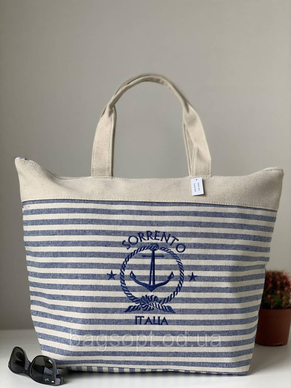 Пляжна тканинна лляна міська сумка шоппер в смужку з якорем