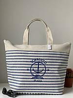 Пляжна тканинна лляна міська сумка шоппер в смужку з якорем, фото 1
