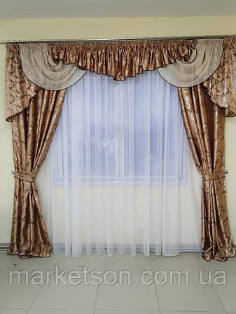 Штори з ламбрекеном жаккард для спальні та вітальні, фото 2