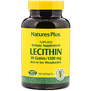 Лецитин из Сои, 1200 мг, Natures Plus, 90 мягких таблеток