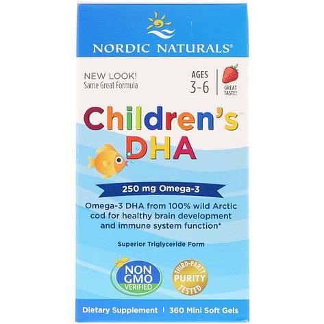 Рыбий жир (ДГК) для Детей, (3-6 лет), 250 мг, Вкус Клубники, Children's DHA, Nordic Naturals, 360 мини капсул, фото 2