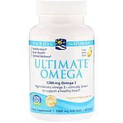 Рыбий Жир, Вкус Лимона, Nordic Naturals, Ultimate Omega, Lemon, 1,280 мг, 60 Капсул