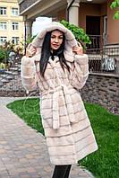 Норковая шуба-трансформер с капюшоном и поясом персикового цвета, фото 1