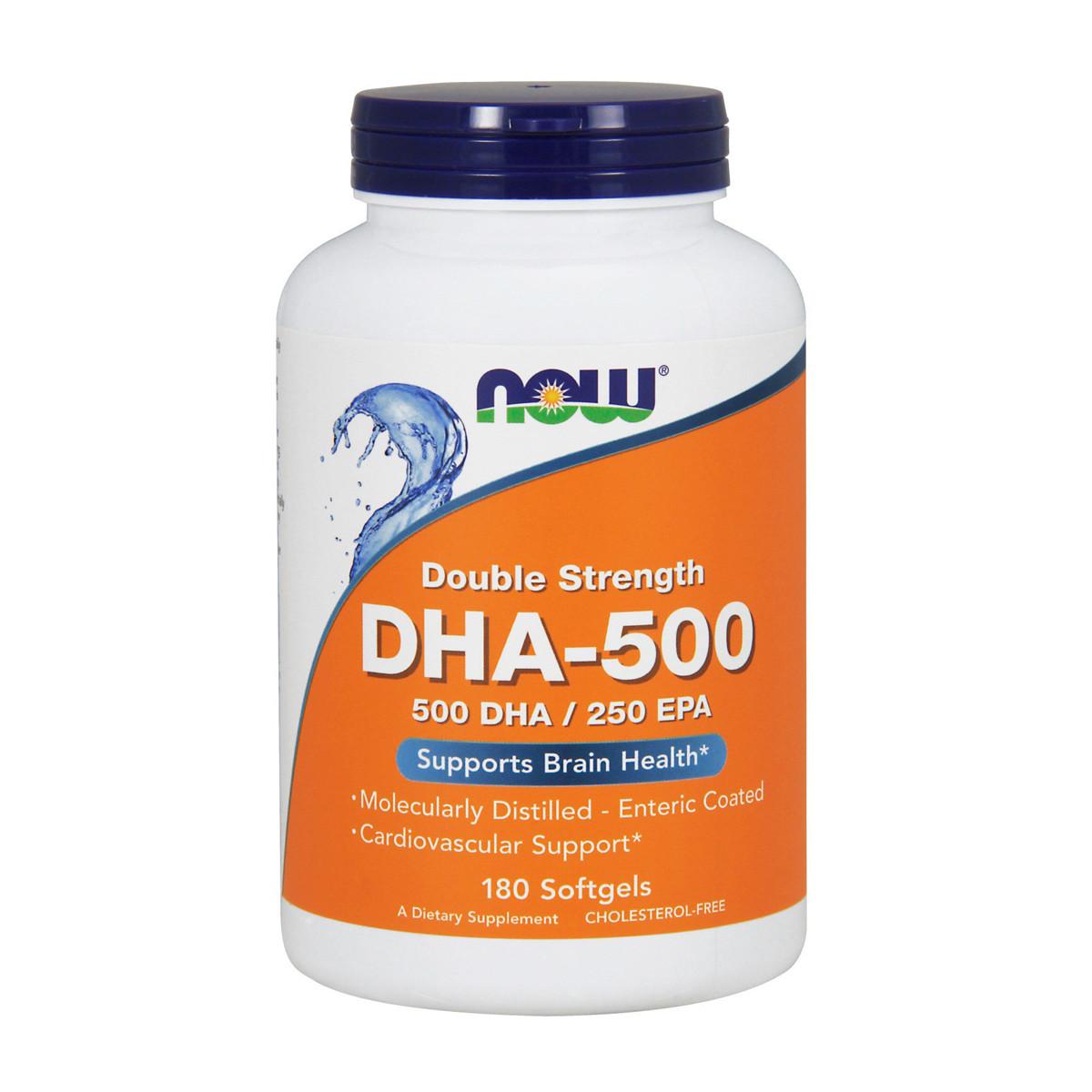 DHA-500 (докозагексаеновая кислота), Now Foods, 180 желатиновых капсул