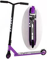 Трюковой детский самокат SR 2-036-2-V, цельный, ножной тормоз, амортизаторы, поворот руля 360, фиолетовый
