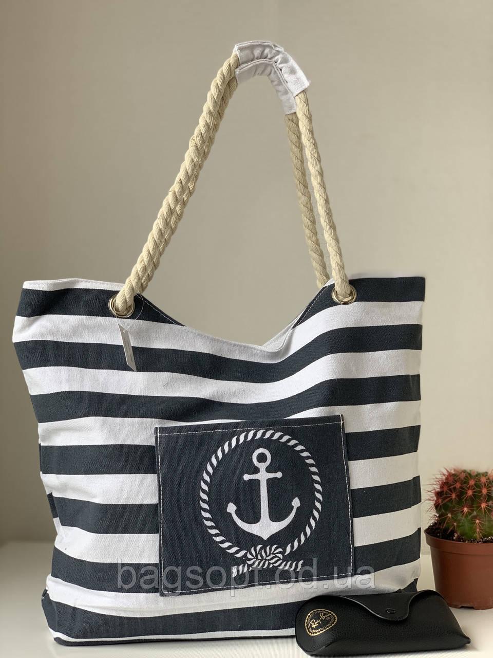 Пляжная льняная летняя сумка в черно-белую полоску