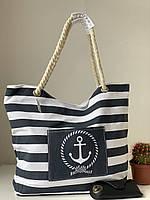 Пляжная льняная летняя сумка в черно-белую полоску, фото 1