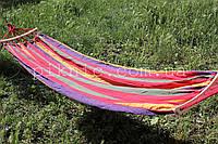 Тканевый подвесной гамак на перекладине 200*80см. Дачный, садовый, одноместный. №5