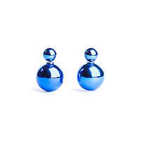 Серьги шары Dior двойные, ярко-синий металлик