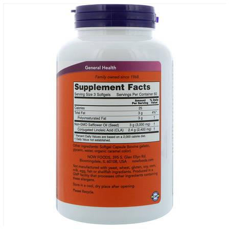 Конъюгированная Линолевая Кислота (CLA) 800 мг, Now Foods, 90 желатиновых капсул, фото 2