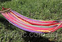 Тканинний гамак з короткою планкою 200*80см. Гамак човник для дому саду Колір №11, фото 3