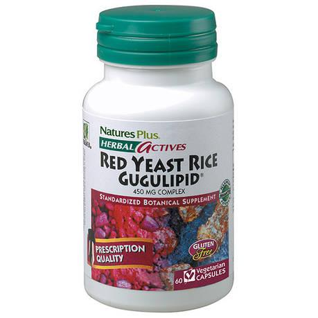 Красный Дрожжевой Рис + Гуггулстероны, Herbal Actives, Natures Plus, 60 гелевых капсул, фото 2