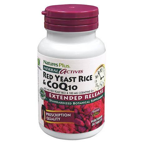 Красный Дрожжевой Рис + Коэнзим Q10, Herbal Actives, Natures Plus, 30 гелевых капсул, фото 2
