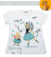"""Красивая футболка  для девочки """"Балерина"""" (от 1 до 4 лет)"""