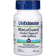 Поддержка Зрения с Шафраном, MacuGuard, Ocular Support with Saffron, Life Extension, 60 Гелевых Капсул