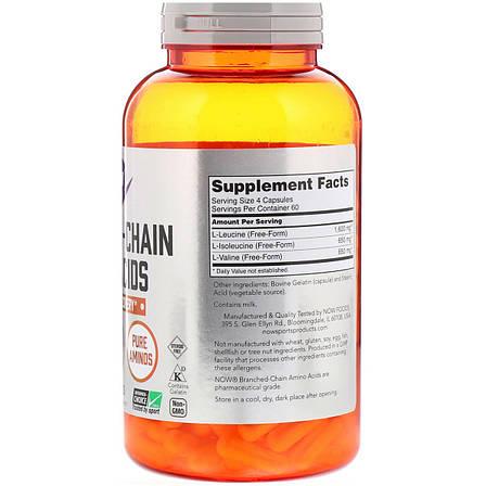 Комплекс Аминокислот с Разветвлёнными Цепями, Branched Chain Amino Acids, Now Foods, 240 капсул, фото 2