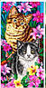 Пляжное полотенце Котята с лилиями