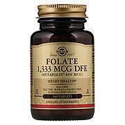Фолиевая Кислота (В9), Метафолин, Metafolin, 800 мкг, Solgar, 100 таблеток