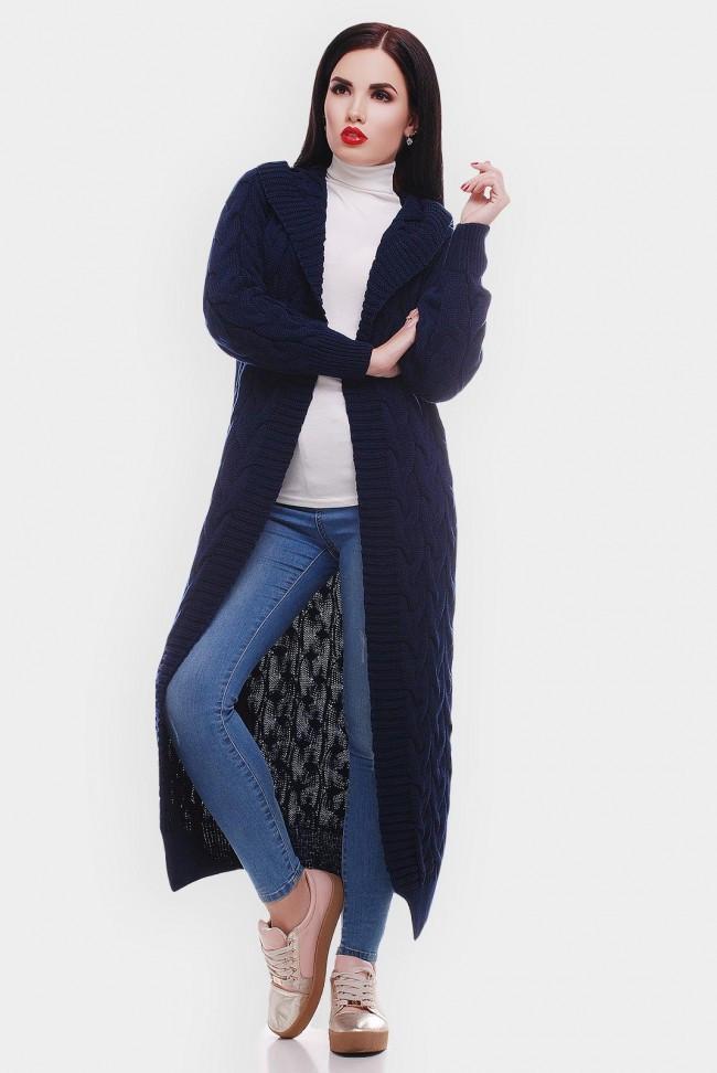 """Стильный женский вязаный кардиган с капюшоном в косичку длинный """"LIKA"""" темно-синий  VKL0009"""