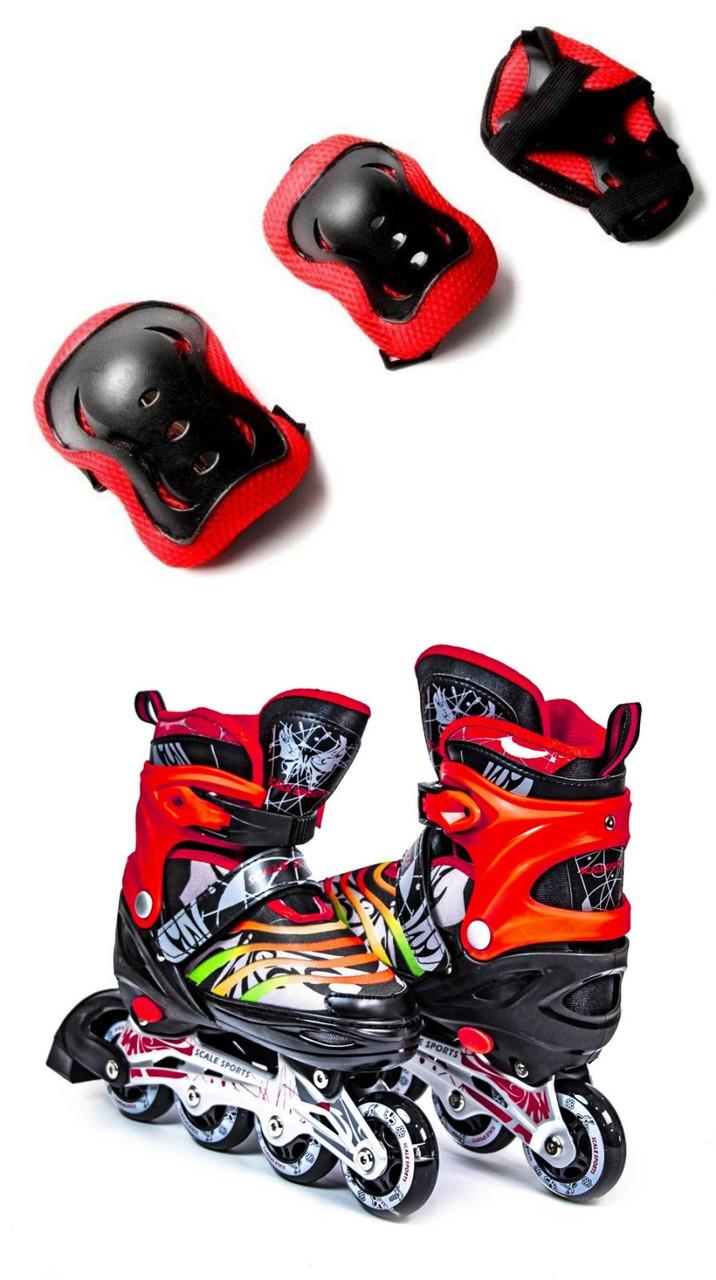 Ролики раздвижные Scale Sports LF 907 чёрно-красные, размеры 29-33, 34-37, 39-41