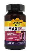 Мультивитамины и Минералы для Женщин, Max for Women, Country Life, 120 таблеток