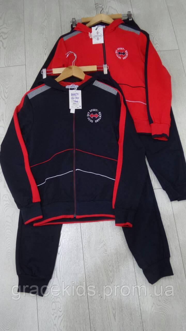 Яркие подростковые спортивные костюмы для мальчиков оптом GRACE,разм 134-164 см,95% хлопок