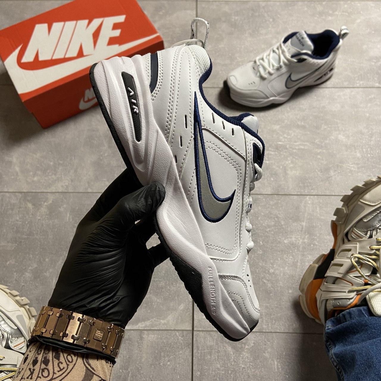 Кроссовки Nike Air Monarch White Blue Найк Эир Монарх Кожа Белый 🔥 Найк мужские кроссовки 🔥