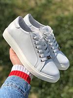 Кожаные кеды женские классические белые Uk0700