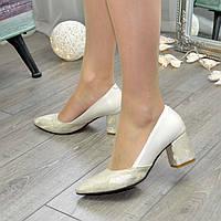 Туфли женские классические на устойчивом каблуке, натуральная кожа питон золото и бежевая. 39 размер