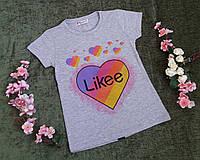 Стильна футболка на дівчинку на ріст 116-164, фото 1