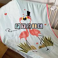Плед детский мягкий (микрофибра) 140х110 см, Фламинго, фото 1