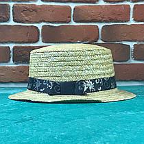 Канотье соломенная шляпа летняя пляжная с лентой с Узором