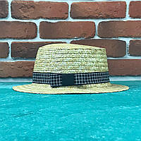 Канотье соломенная шляпа летняя пляжная с лентой в Клетку