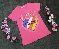 Стильна футболка на дівчинку на ріст 116-164
