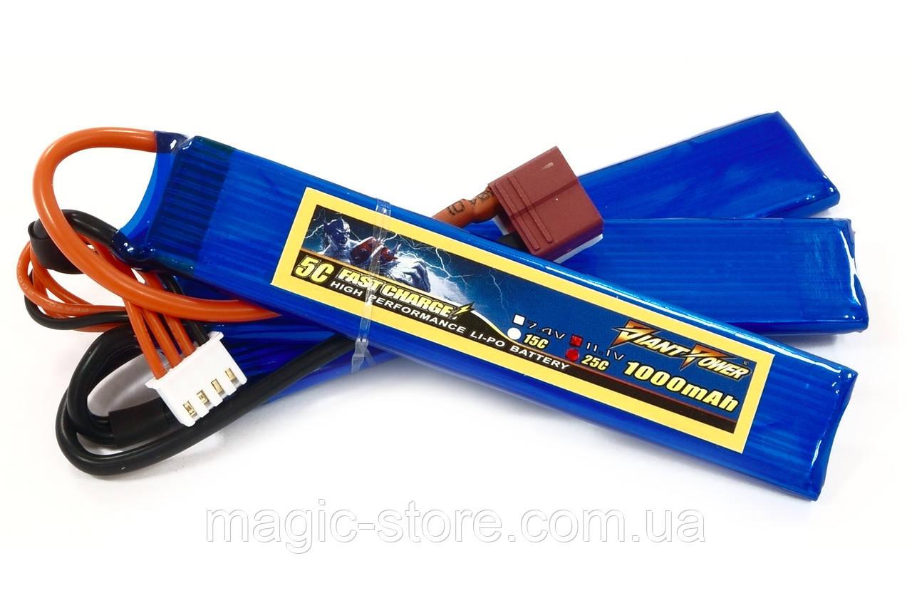 Аккумулятор для страйкбола Giant Power (Dinogy) Li-Pol 11.1V 3S 1000mAh 25C 3 лепестка 5.5х20х103мм T-Plug