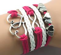 Браслет 5в1 Сердечки розовый с белым (tb906)