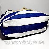 Пляжная сумка тёмно синяя  полоса опт, фото 3