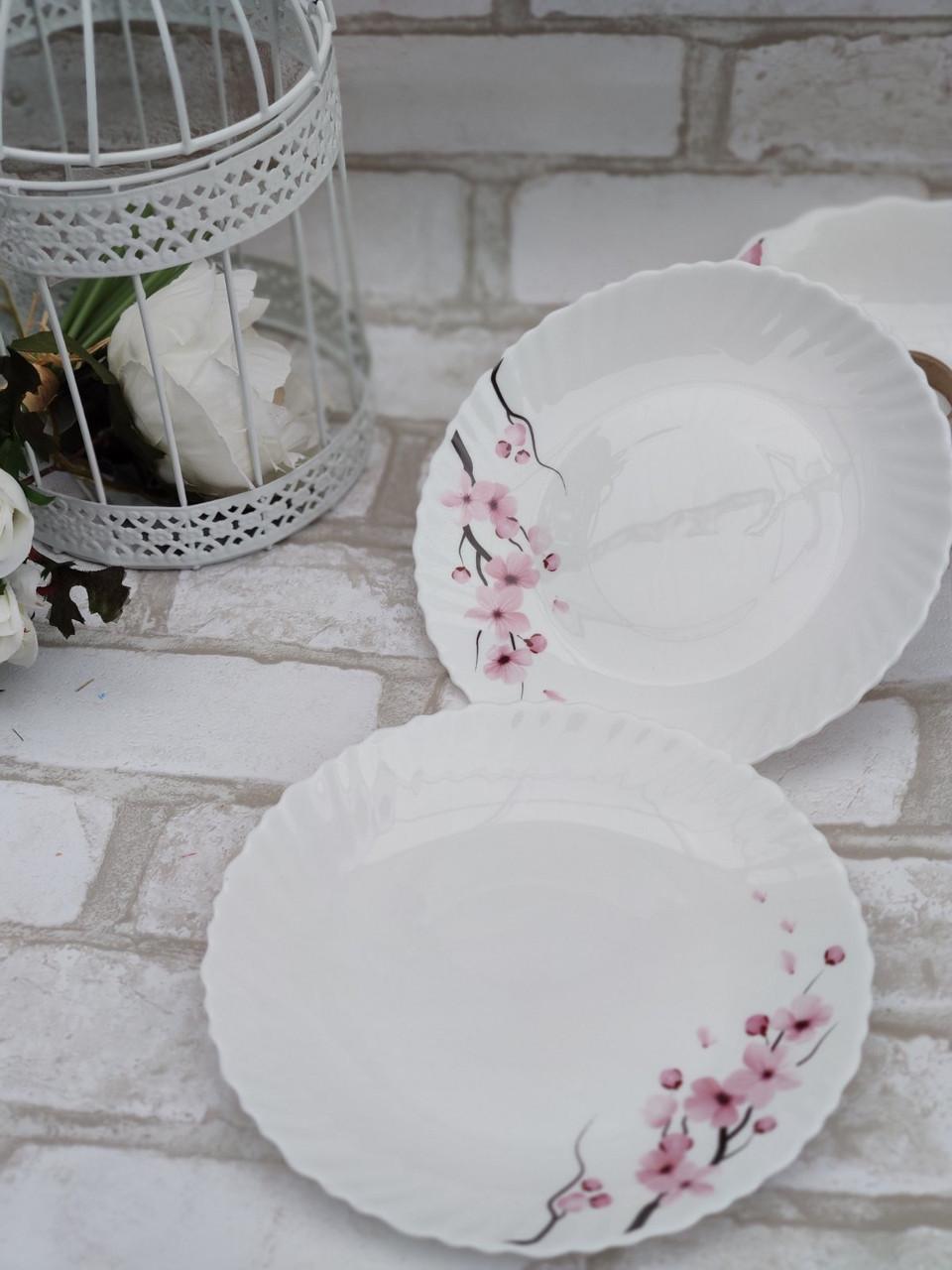 Тарілка закусочна із склокераміки декорована гілкою сакури, діаметр 19 см(продаж лише упаковками, 6шт/уп)