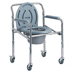 Стул-туалет DY02696(5) на колесах, усиленный, регулируемый