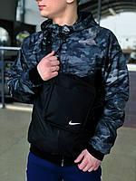 Мужская куртка не промокаемая ветровка с капюшоном Windbreaker, демисезонная камуфляж-черный