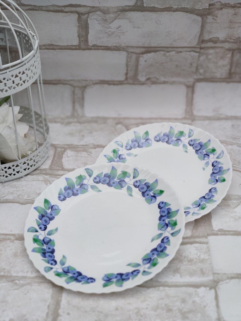 Тарілка закусочна із склокераміки декорована чорницею, діаметр 19 см(продаж лише упаковками, 6шт/уп)