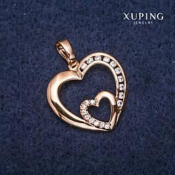 Кулон Xuping Сердце 22х23х30мм Позолота 18К