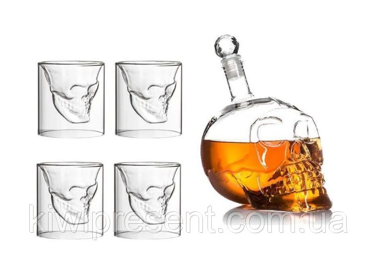 Подарочный набор Графин в форме черепа 0,75 л и 4 стакана Череп