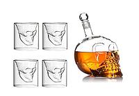 Подарочный набор Графин в форме черепа 0,75 л и 4 стакана Череп / с черепом внутри